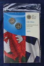 "2011 Royal Mint £1 coin x 2 ""Edinburgh & Cardiff "" in folder - Sealed   (A10/3)"