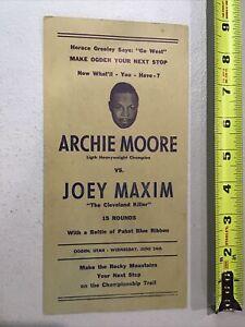 1953 Boxer Archie Moore Champion vs Joey Maxim Ohio Killer Boxing Promo Ad Card