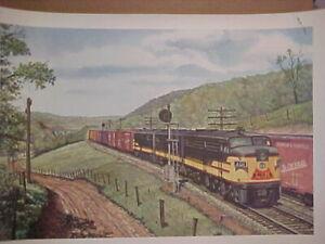 """Railroad Art,Fogg,Alco series,L&N FA's in KY hills,#301,16X22"""" fair to good cond"""