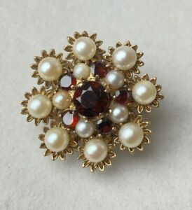 Victorian 9ct Gold Brooch Clasp Necklace with Pearl & Ruby Red Stone 8.1g