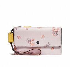 COACH pink multi colorblock flower bow leather triple wallet wristlet 29608 NWT