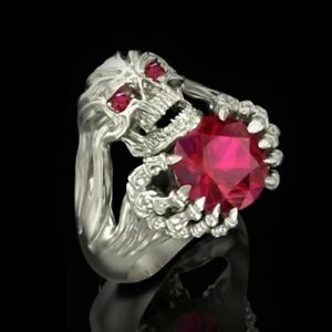 Cut Round Red Zircon Skull Rings Mens Cocktail Party Jewelry Punk Biker Ring