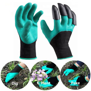 4 Claws Garden Genie Gloves Gardening Digging Planting Pruning Tools Lawn Care