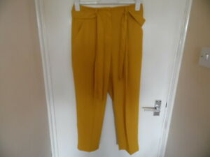 Ladies Mustard Colour Trousers with Zip Fastening, Belt & Pockets Size 10