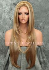 Light Brown/Blonde Mix Long Straight HEAT OK Lace Front Synthetic Wig ABJA 2216