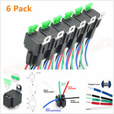 6 Pack 12V 5-Pin 30A ATO/ATC Blade Fuse Relay Switch Harness Kit SPDT 14AWG Wire