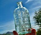ca 1900 CRUDE EMBOSSED 'MARTIN & MARTIN STOVE POLISH' AQUA GLASS ILLINOIS BOTTLE