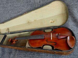 alte 4/4 Geige Violine Brandstempel Hermann Dölling with Label spielbereit