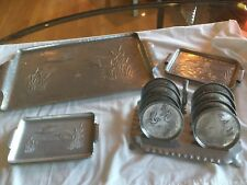 Vintage Forged Aluminum Serving Trays and Coasters wtih Flying Geese