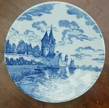 """10.6"""" Antique Delft Blue Plate Wall Charger Castel Boat Water Dutch scene"""