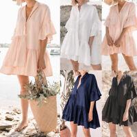 UK Womens Ruffle Skater Dress V Neck Frill Short Sleeve Beach Holiday Mini Dress