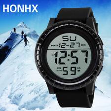 Fashion Mens Boys Silicone Band Date Alarm Stopwatch Sports Fitness Wrist Watch