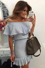 Blue Pom Pom Mini Dress Club Wear Fashion Evening Wear Size  M L