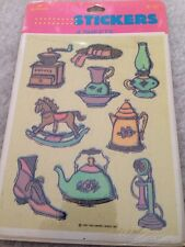 Vtg  Hallmark Antiques Coffee Grinder Oil Lamp Shoes  Stickers~1991-NIP Rare!