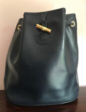 Vintage LONGCHAMP Navy Blue Leather One Strap Bucket Bag