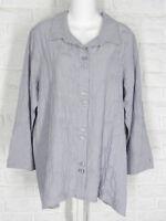 HABITAT Swing Shirt Tunic Jacquard Crush High Low Hem Cloud Grey NWT XS L XL