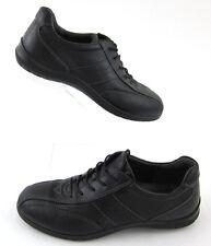 ECCO Womens Casual Walking Shoes Sneakers Black Leather Sz 37 EU / 6 - 6.5 US
