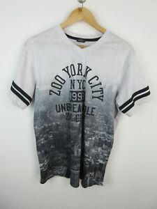 Zoo York City Mens T Shirt Size M Crew Neck Jersey Style Graphics Print White