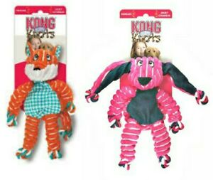 KONG Floppy Knots - SET OF (2) SM/MED Dog Toys - FOX & BUNNY Squeaks ROPE BODY