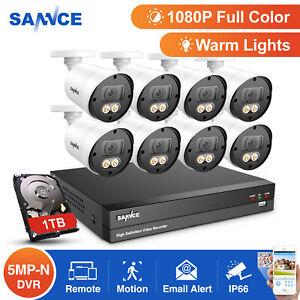 SANNCE 1TB 8CH 5MP-N 5IN1 DVR 1080P Floodlight Security Camera System 3000TVL