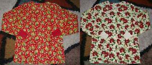 2 pc Christmas Warm up Jacket 2 bottom Pockets Knit Cuffs Xmas Print Sz XS & S