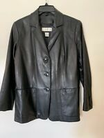PRESTON & YORK Black LAMBSKIN WOMEN'S LEATHER JACKET, S (petite)