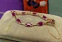 Estate vintage 14k yellow gold 10.0 ct natural ruby tennis bracelet 7 3/8 ""