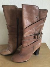 River Island Tan Buckle Boots Size 6