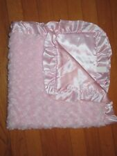 HTF NWOT Bearington Baby Collection Pink Swirl Plush Satin Ruffle& Back Blanket