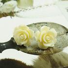 Elegant Design Rose Ivory White Color Lucite Stud Earrings 2