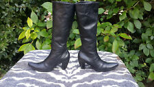 Vic Matie Black Leather knee high boots made in Italy UK size 6 EU 39
