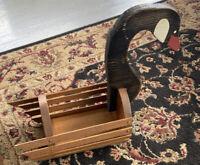 Country Cottage Wooden Goose Head  Basket Vintage Handmade Cottagecore