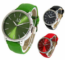 AN London Ladies/Girl's Colourful Big Dial Face & Soft Leather Strap Watch A6944