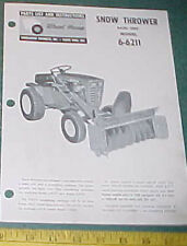 WHEEL HORSE SNOW THROWER 6-6211 BASIC UNIT PARTS LIST