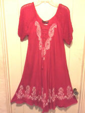 Magenta/White Paisley Embroidery Dress/Cover-Up Sheer Short Slvs  NWT Free Size
