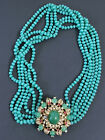 """RARE HUGE VINTAGE GORGEOUS GRIPOIX """"THE LOOK OF REAL CINER GLASS FLOWER NECKLACE"""