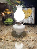 "Vintage White Milk Glass Hobnail Electric Hurricane Lamp 13.5"""