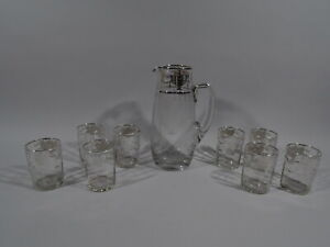 Antique Drinks Set - Antique Edwardian Regency - American Glass & Silver Overlay