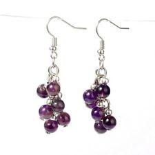 1 Pair of Platinum Plated Amethyst Gemstone Dangle Earrings #B16