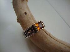 Vintage John Hardy .925 18K Gold Square Orange Citrine Ring Size 5