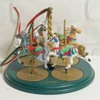 Hallmark Keepsake Christmas Ornament Carousel Horses and Stand 1989