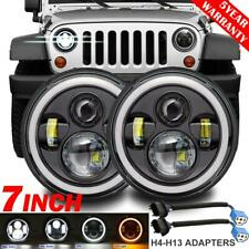 "Pair 7"" 280W LED Headlight DRL Angel Eyes DOT Lamp for Jeep Wrangler JK TJ LJ CJ"