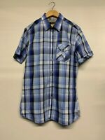 Ted Baker Mens Shirt Short Sleeve Blue Check Size 3 Medium M