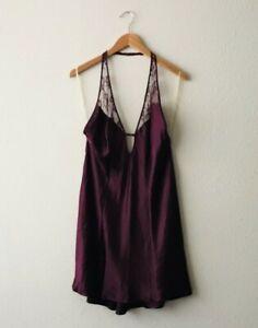NWT Victoria's Secret Purple Lace Satin Top Intimate Sleepwear Lingerie Sz Large