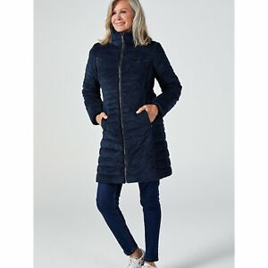 Centigrade Faux Down Velour Puffer Coat uk size Extra Large bnip Navy