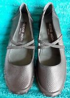 BERNE MEV Daisy Black Leather Mary Jane Slip-on Shoes Womens Size 6 EUR 36