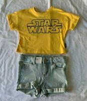 Girls size 1 Yellow Star Wars tee  t-shirt & blue denim shorts Target  NEW