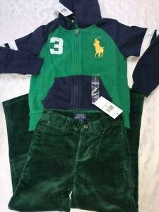 Ralph Lauren 3 piece set green corduroy pants + hoodie top + scarf boys 5Y $160