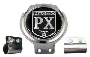 Vespa Scooter Bar Badge - Piaggio PX Black Logo - FREE BRACKET & FIXINGS