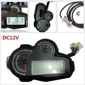 12V LCD Universal Motorcycle Bikes Speedometer Odometer  RPM  Speed Fuel Gauge